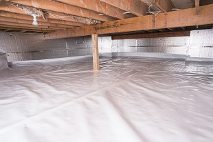 A complete crawl space vapor barrier in Cambridge installed by our contractors