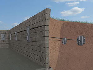 A graphic illustration of a foundation wall system installed in Tillsonburg