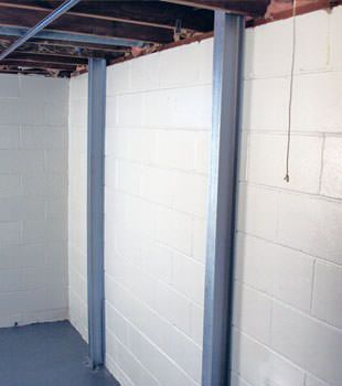 A PowerBrace™ i-beam foundation wall repair system in Hamilton