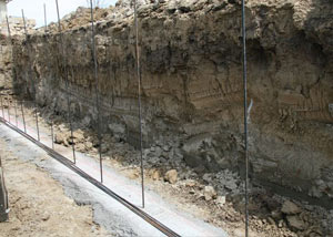 Soil layers exposed while excavating to construct a new foundation in Waterloo