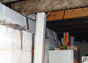 A failing foundation wall and i-beam support in a Hamilton home