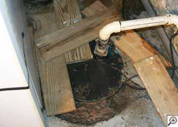 An ugly, clogged sump pump system in Cambridge, Ontario