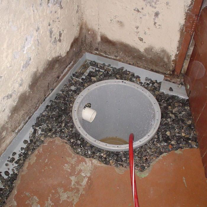 installing a sump in a sump pump liner in a burlington home