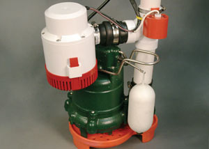 A cast-iron Zoeller sump pump with battery backup and pump stand