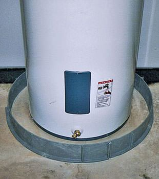 An old water heater in Thorold, ON with flood protection installed