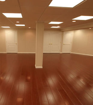 Rosewood faux wood basement flooring for finished basements in Hamilton