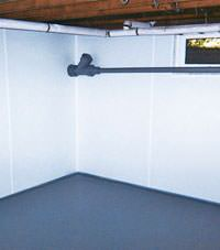 Plastic basement wall panels installed in a Milton, Ontario home