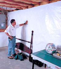 Plastic 20-mil vapor barrier for dirt basements, Milton, Ontario installation