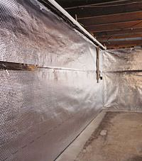 Radiant heat barrier and vapor barrier for finished basement walls in Milton, Ontario